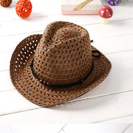 Wholesale Kids Party Ties - Kids Cowboy Beaded Straw Sun Hat Beach Visor Cap Outdoor For Summer Free Shipping