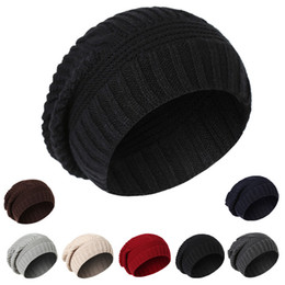 Wholesale Mens Sports Beanies - Classic Unisex Womens Mens Knit Baggy Acrylic Rib Beanie Cable Knitted Hat For Adults Winter Hip Hop Head Ear Warmer Slouchy Sports Snow Cap