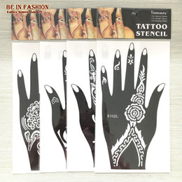 Wholesale Sheets For Glitter Tattoos - Wholesale-4pcs lot Henna Tattoo Stencil Glitter Template airbrush Temporary Indian Tattoos Stencils for Painting professional Kit sheets