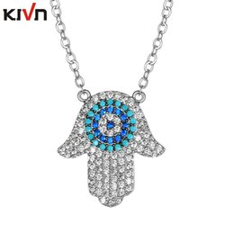 Wholesale Hamsa Eye Necklace - KIVN Fashion Jewelry Turkish Evil Eye Hamsa Hands AAA Cubic Zirconia Bridal Wedding Necklaces Promotional Christmas Girls Mothers Day Gifts