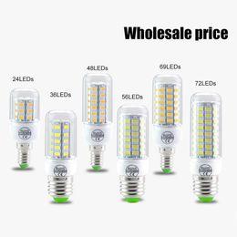 Wholesale E27 Clear Bulb - SMD5730 E14 E27 GU10 g9 7W 12W 15W 18W AC 110V 220V 360 angle LED Corn Bulb light Chandelier 24LED 36LED 48LED 56LED