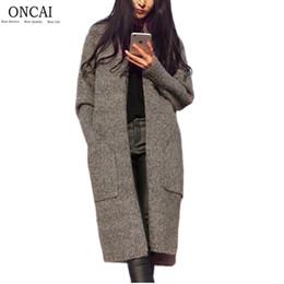 Wholesale Long Wool Cardigan Sweater Coat - Wholesale- ONCAI Wool Solid Long Female Cardigan 2016 Fashion Autumn Winter Coat V-neck Warm Pocket Knitted Loose Cardigans Sweater Women