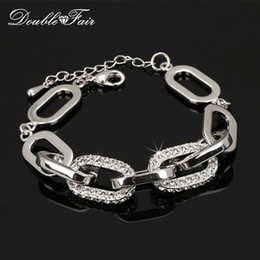 Wholesale Wholesale Halloween Trinkets - CZ Diamond Charm Bracelets & Bangles Platinum Plated Super Star Shinning Fashion Jewelry Trinket For Women Items Austrian Crystal DFH089