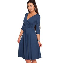 Wholesale Cocktail Dresses Flutter Sleeves - Wholesale- Bodycon V-neck Three Quarter Sleeve Knee-length New Fashion Hot Sale Women Dresses Spring Autumn Party Cocktail Casual Dresses