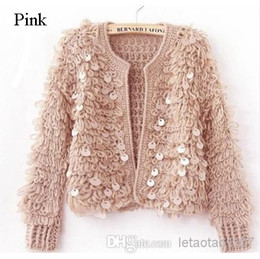 Wholesale White Cardigan Sweaters For Women - Hot Sale Women Short Cardigans Sequin Sweaters Ladies Long Sleeves Cardigans Sweaters Women Clothes for Spring Summer Winter