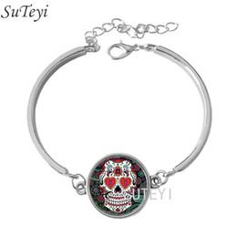 Wholesale Wood Chain Skull - Free Shipping Fashion Sugar Skull,Skeleton Glass Dome Lace Charm Bracelets Skull Photo New Design Silver Bangle High Quality
