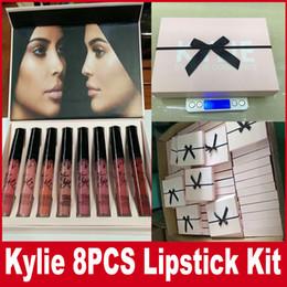 Wholesale Velvet Gift Box Wholesale - Kylie Jenner Silk Ribbon Velvet Lipstick Set Kylie Lip Kit Liquid Lipsticks Lip Gloss Kylie Makeup Comestics 8Colors set With Pink Gift Box