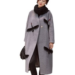 Wholesale Quilted Trench Coat - Women Winter Wool Blend Cloak 2016 Long Woolen Outerwear Double Side Wool Overcoat Trench Quilted Thick Crane Embroidery Coat