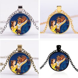Wholesale Photos Gemstones - 19 Designs Beauty And The Beast Chain Necklace Grils Boys Jewelry Pendant Gothic Glass Photo Cabochon Vintage Time Gemstone Necklaces Gifts