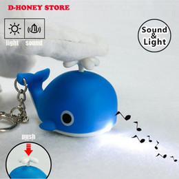 Wholesale Toy Whale Wholesale - Sound Light Key Chains Flashlights Sound keyRings Toys Cute Whale LED Keychains Creative Birthday Child Gift Pendant