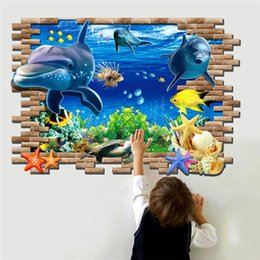 Wholesale Wall Art Decals Fish - PVC 70*100 cm through wall sticker home decorations living room animal wall art fish shark sealife decals children gift wall decor