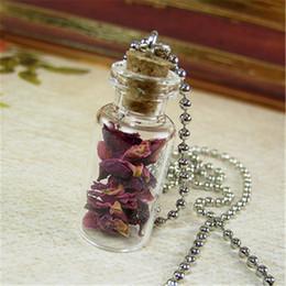 Wholesale Dried Petals - 12pcs lot Red Roses Necklace Real Dried Rose Petals Glass Bottle Necklace Pendant silver tone
