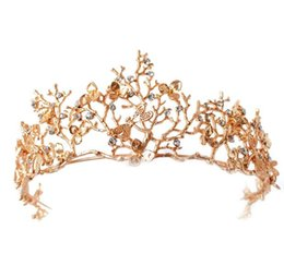 Wholesale High End Crowns Tiaras - DG 2017 New Baroque crown wholesale high-end sub branch hair headdress golden Dragonfly diamond large crown wedding dress accessories free s
