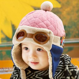Wholesale Lei Feng Hat - Child Infant Winter Pilot Warm Hats Baby Hats 2 ~ 5 Years Old Warm buckle Lei Feng hat