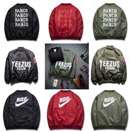 Wholesale Patch Suit Design - winter mens jackets coats MA1 Bomber jacket KANYE WEST YEEZUS jackets Sport Suit Parkas mens hip hop coats streetwear NAN1992