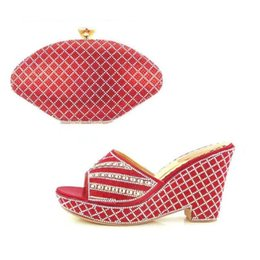 Wholesale Gold Italian Chains - VIVILACE Red Free Shipping African Sandals Shoes High Heels Matchign Bag Fashion Italian Shoes And Bag Set