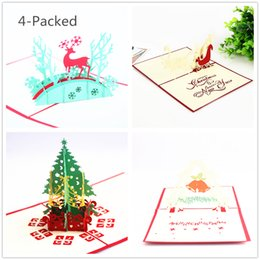 Wholesale greeting card packs - 4-Packed christmas cards 3d greeting card christmas greeting card christmas decorations pop up greeting card gift cards wholesale