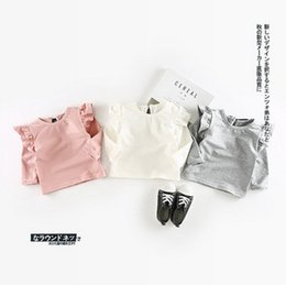 Wholesale Little Girls Lace Tops Wholesale - Baby T-shirt baby little girls falbala fly sleeve bottoming shirt Newborn kids lace-up bows princess tops toddler kids autumn clothes T4809