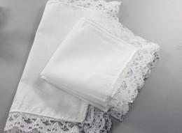 Wholesale Lace Handkerchiefs Wholesale - 300pcs White Lace Thin Handkerchief Woman Wedding Gifts Party Decoration Cloth Napkins Plain Blank DIY Handkerchief 25*25cm