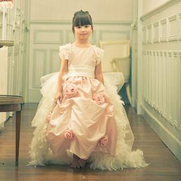Wholesale Taffeta Lace Communion Dresses - 2017 Newest O-Neck Short Sleeve A-line Flower Girl Dresses Lace A-line Lace Girls Pageant Dresses Vestido De Desfile