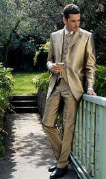 Wholesale Shiny Suit Men S - Wholesale- Three Button Groom Tuxedo Shiny Gold Groomsmen Notch Lapel Wedding Dinner Suits Best Man Bridegroom (Jacket+Pants+Tie+Vest) B2