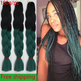 Wholesale Top Kanekalon Hair - 100g pc Synthetic Two Tone Ombre Braiding Hair for Women Xpression Synthetic Braid Hair Extensions Top Kanekalon Braiding Hair Free Shipping