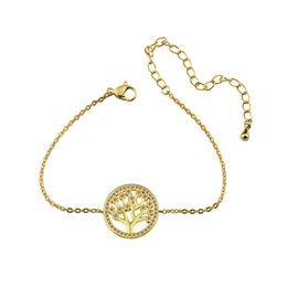 Wholesale Invisible Life - Wholesale 10Pcs lot Pulseras 2017 New Promotion Trendy Gold Color Jewelry Luxury CZ Tree Of Life Charm Crystal Bracelets for Women