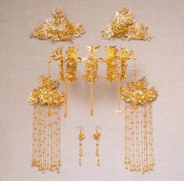 Wholesale Qipao Phoenix - Wedding with the crown Chinese wedding bridal costume headdress show Wo clothing Qipao phoenix crown