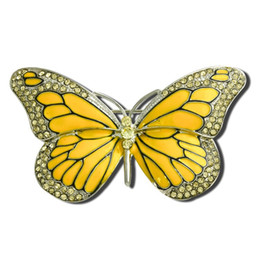 Wholesale vintage butterfly pins brooches - Wholesale- 2016 Fashion Gold Butterfly Brooch Vintage Suit Strass Blue Wedding Crystal Enamel Insect Collar Broche Mujer Pins Bouquet