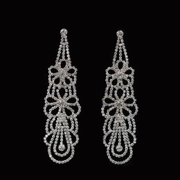 Wholesale Big Crystal Earrings For Bridal - New Luxury Excellent rhinestone long Drop Earrings CZ big Crystal Earrings Bridal Wedding Jewelry For Women #E214