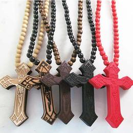 Wholesale Wood Crosses Necklaces - Promotion ! Hot Sale Classic Cross Jesus Christians Good Wood Hip Hop Necklace Wholesale Rosary Jewery