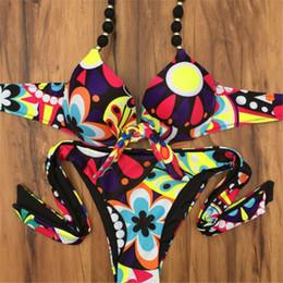 Wholesale Womens Padded Bikini Tops - Trangel 2017 new arrival Floral Print bikini Bandage Swimsuit Push Up top Bikini Top Womens Padded Bathing suit sexy bottom