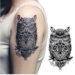 Wholesale Tattoos Designs Sexy Eyes - Wholesale-Temporary tattoos large black owl arm fake transfer tattoo stickers hot sexy men women spray waterproof designs