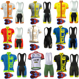 Wholesale Ale Cycling Jerseys - 2017 Pro Team Ale Cycling Jersey Bicycle Clothing Short Sleeve shirt 9D Pad bib shorts set Breathable Quick Dry Ropa Ciclismo hombre F0601