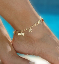 Wholesale Dragonfly Butterfly Jewelry - Gold Tone Women Chain Ankle Bracelet Barefoot Sandal Beach Foot Jewelry With Roses Dragonfly Butterfly Leaves Leg Chain