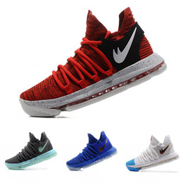 Wholesale Kd Basketball Shoes Sale - 2017 Hot Sale KD 10 Finals Basketball Shoes Oreo Grey Wolf Kevin Durant 9s Training Men Wholesale Sports Sneakers Warriors Size 7-12
