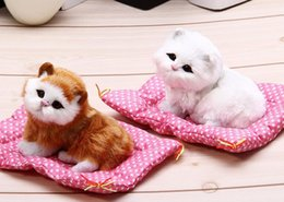 Wholesale Sleeping Cat Cute Plush - Mini Cute Simulation Plush Animal Cats Lazy Sleeping Cats Craft Toy with Sound for Birthday Christmas Gift Doll Decorations