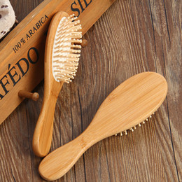 Wholesale Hot Brush Hair Care - Free Shipping Hot Sale Women Round Head Natural Bamboo Hair Vent Brush Anti-static Combs Hairbrush Health Care Beauty SPA Massage Comb