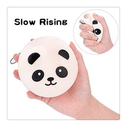 Wholesale Mini Cell Phone Car Key - Mini Soft Squishy 3.9 Inches Panda Bun Bread Keychains Charms Strap For Bag Kawaii Cell Phone Car Keys Soft Squishy KeyChain DHL