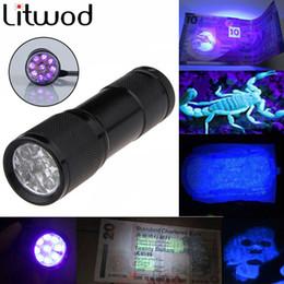Wholesale Travel Uv Lamp - Mini LED flashlight Aluminum Portable light UV Flashlight torch Violet Light 9 LED UV Torch Light Lamp Free Shipping