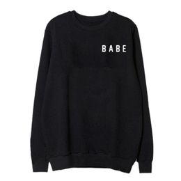 Wholesale Women Loose Grey Sweatshirts - Fashion Woman's Baby Printed Hoodies Sweatshirts Long Sleeve Loose Tops Wear White Grey Black Hoodies S-XL