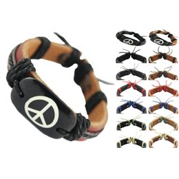 Wholesale Gifts Sign - peace sign genuine leather bracelet adjustable black brown wholesale lots fashion chain hot men women handmade wristband bangle new (DJ016)
