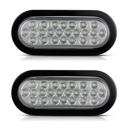 "Wholesale Flush Mount Tail Lights - Oval White Stop Tail Backup Fog Light Flush Mount 6"" 24 LED Truck Trailer Boat Waterproof Free shipping"