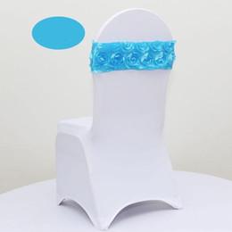 Wholesale Multicolor Chair Sashes - 2017 Latest Elastic 3D Rose Petal Flower Wedding Chair Cover Sashes Sash Party Banquet Decoration Decor MultiColor 100pcs lot