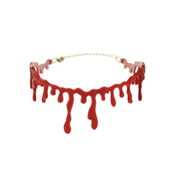 Wholesale Fancy Dress Accessories - Pameng Halloween Horror Blood Drip Necklace Fancy Dress Fun Joke Choker Red Novelty Accessories For Women
