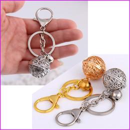 Gold anhänger ball designs online-Neues Design - Silber Gold Glocke Ball Schlüsselbund Tasche Charm Anhänger, Autoschlüssel Ringschlüsselhalter Schnelles Verschiffen