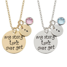 Wholesale Acrylic Love - High quality My story is not over yet Engraved inscription necklace pendant jewelry WFN451 (with chain) mix order 20 pieces a lot