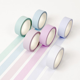 Wholesale Color Masking Tape - Wholesale- 2016 12 color Soft color paper washi tape 15mm*8m pure masking tapes Decorative stickers DIY Stationery school supplies 6583