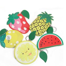 Wholesale Small Purses Keychain - Keychain leather bag cartoon women mini wallet watermelon pineapple small bag pu key chain purse zipper pouch for earphone card holder