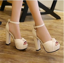 Wholesale Nude Thick Heel Sandals - summer 2017 New han edition fish mouth nude waterproof commuter OL high-heeled shoes thick with one word cingulate sandals